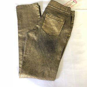 GIANNI BINI GB GIRLS Gold Skinny Jeans Sz 12